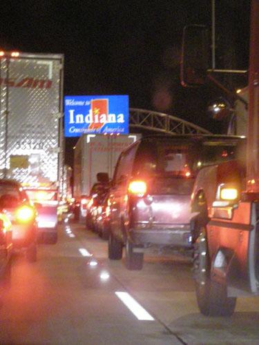 Closed interstate in Indiana