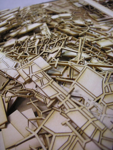 Pile of lasercut pieces