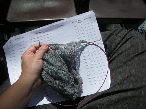 Knitting while the auction goes along
