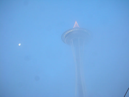 Space Needle and the moon
