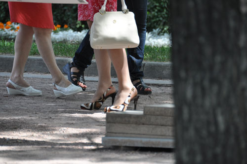 High heels in the park